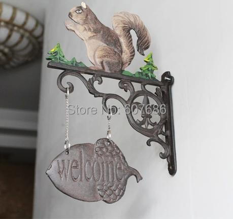New Squirrel Rustic Cast Iron WELCOME Sign 3 Type for Choose Metal Welcome Yard Sign Country Wall Sign Plaque Hanger Free Ship
