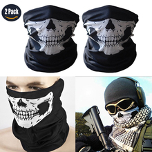 2 PCS Black Skull Motorcycle Face Mask Bicycle Multifunction Outdoor Sport Ski Mask Ride Bike Cycling Snowboard CS Mask