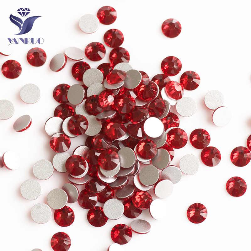 YANRUO 2058NoHF Siam Non HotFix Strass Crystal FlatBack Red Stones Apparel  Sewing Fabric Rhinestone Stones For c7bcae52bbd5