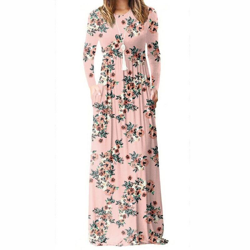Women Long Sleeve Maxi Long Dresses Femme Summer Floral Printed A-line Dress Female Boho Beach Sundress Pockets Plus Size GV083