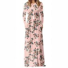 Women Long Sleeve Maxi Long Dresses Femme Summer Floral Printed A-line