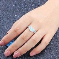 Genuine Sterling Silver 925 Female Ring Blue Opal Stone CZ Crystal Princess Crown Women Elegant Wedding Band Promise Ring Bijoux