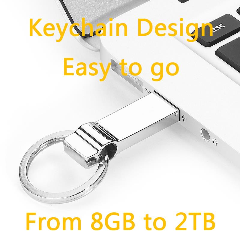 Mini 2.0 Waterproof Silver Metal USB Flash Drive 64GB 128GB 256GB Pen Drive 64GB Key Chain Memory Usb Stick Disk On Key Gift