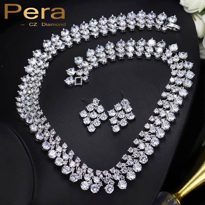 Pera Luxury European Style Clear Cubic Zirconia Crystal Big Round Necklace And Earrings Bridal Jewelry Set For Wedding Gift J116 pera newest big vintage hollow out design yellow cubic zircon round drop pendant necklace and earrings set for luxury women j199