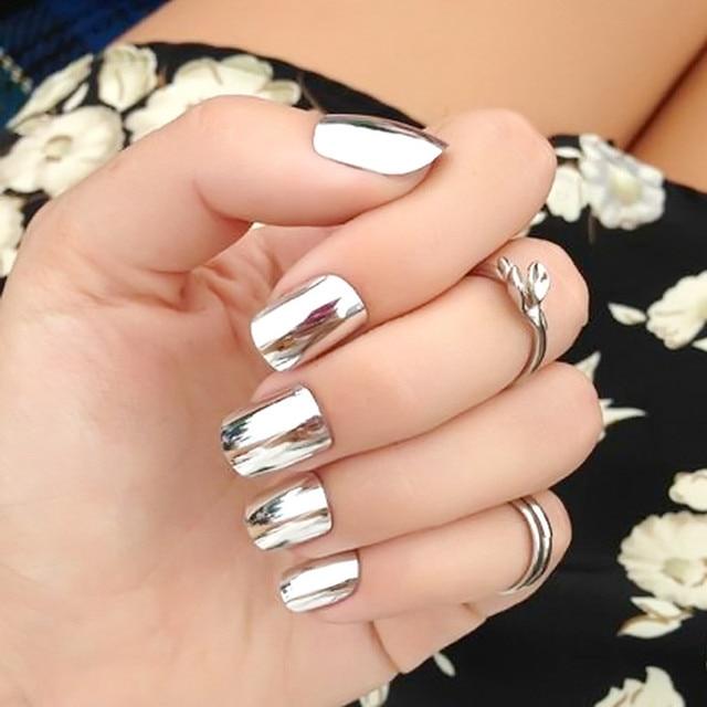 24pcs new fake nails metal silver bride nail art shiny nail 24pcs new fake nails metal silver bride nail art shiny nail products patch manicure fashion press prinsesfo Image collections