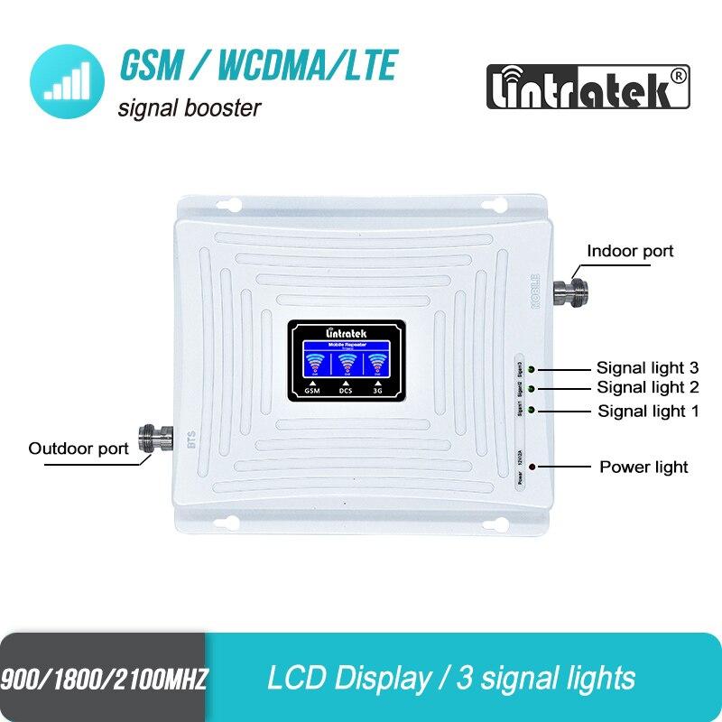 Lintratek 2g 3g 4g Tri banda de señal de 900 de 1800, 2100 GSM WCDMA UMTS y LTE repetidor de celular amplificador Triple banda de señal de teléfono celular de la telefonía móvil repetidor de señal de juego de la antena - 5