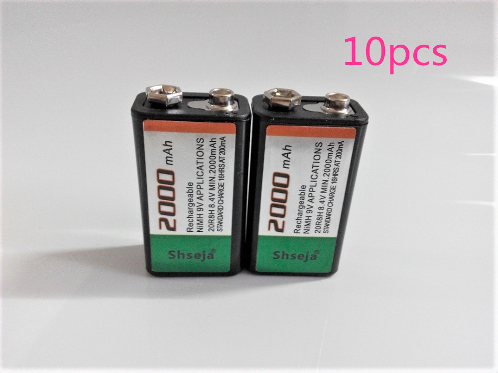 SHSEJA 10pcs lot 2000mAh 9V rechargeable battery 9 volt Ni MH battery for Microphone