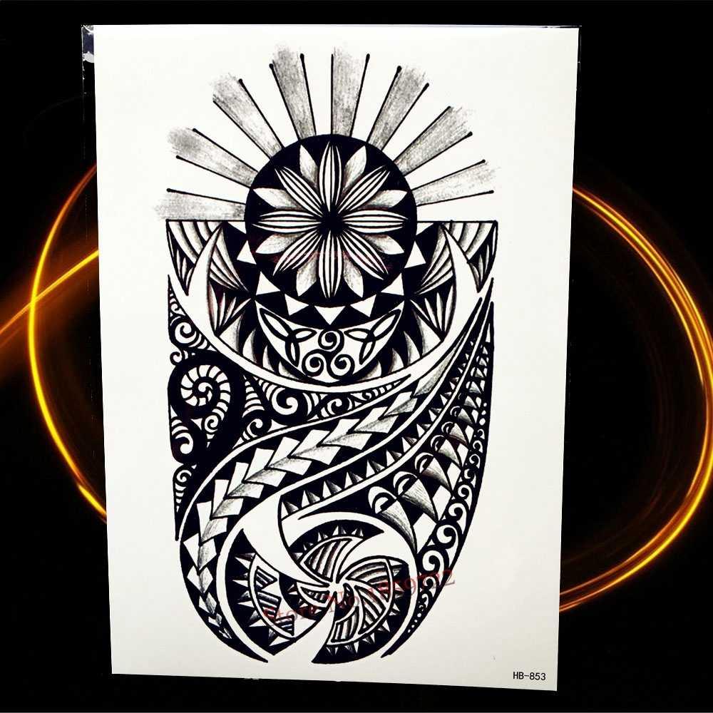 1 шт., Индийский Бог, покровитель святого, черная Временная Съемная Татуировка мужской боди-арт, рукав-рука, тату-наклейка HHB194, индийский рыцарь-воин
