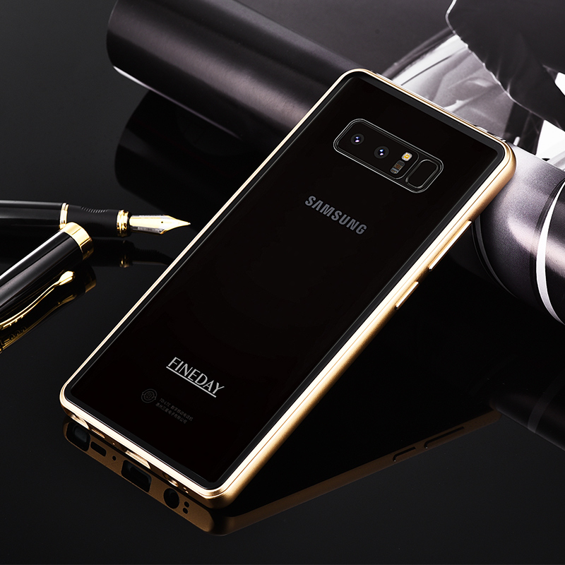For Samsung Galaxy Note 8 Case Luxury 9H Hardness Transparent Tempered Glass Cover Aluminum Metal Bumper