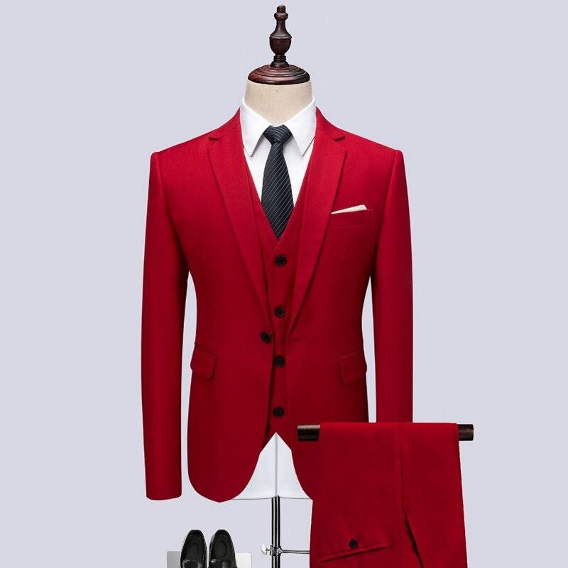 2018 hommes costume rouge trois pièces ensembles de haute qualité élégant hommes robe de soirée taille S-6XL homme costume vestes et gilets et pantalons