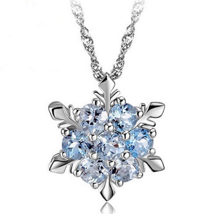 Neuankömmling heiß verkaufen Mode Schneeflocke glänzend CZ Zirkon 925 Sterling Silber Damen Anhänger Halsketten Schmuck Geschenk