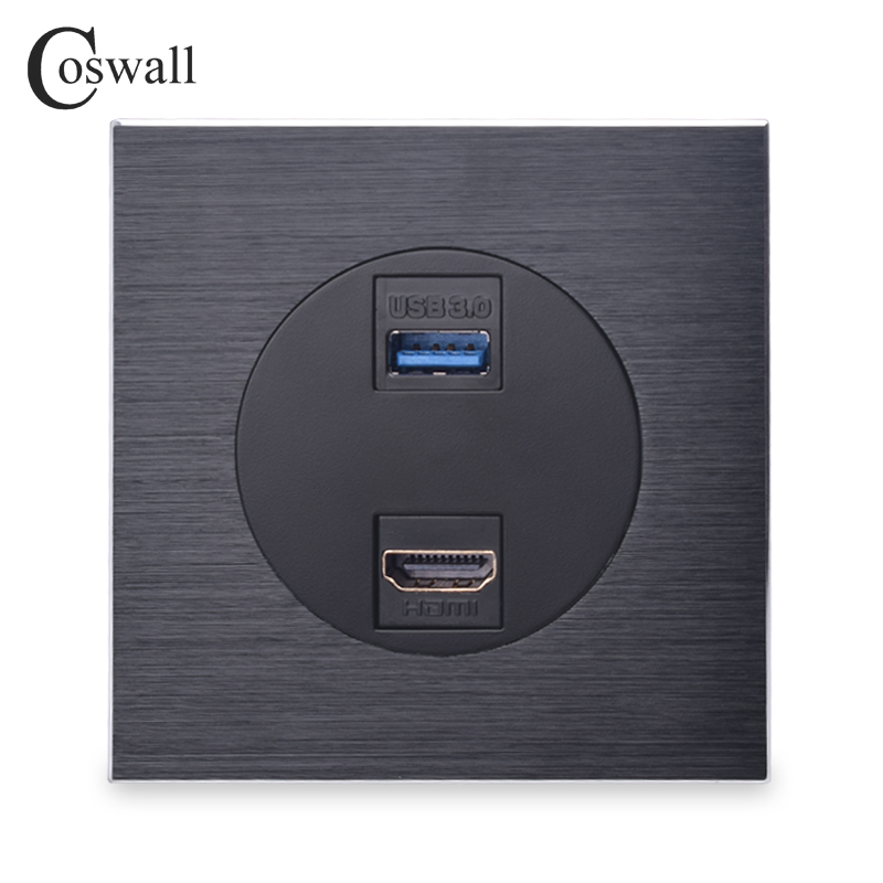 Coswall Luxurious Black Aluminum Metal Panel HDMI 2.0 Port USB 3.0 Jack Wall Power Socket Outlet AC 110~250V