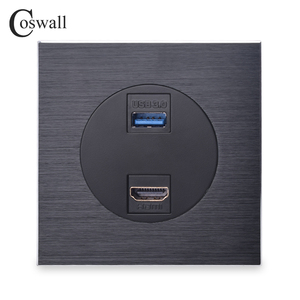 Coswall Luxurious Black Aluminum Metal Panel HDMI 2.0 Port USB 3.0 Jack Wall Power Socket Outlet AC 110~250V()