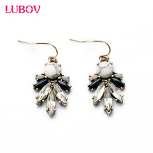 2018 Vintage Statement Elegant Drop Dark Blue White Resin Stone Plant Dangle Earrings Women Fashion Jewelry Factory Direct Sale(China)