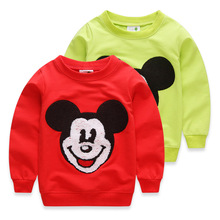 Child sweatshirt 2016 spring and autumn girls boys sweater child casual top mickey cartoon embroidered sports outerwear
