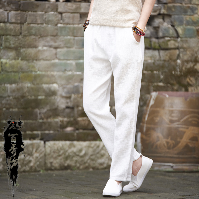 2019 Spring Autumn Retro Vintage Soft Sweat Trousers Original Cotton Linen Women Ankle Length Straight Pants