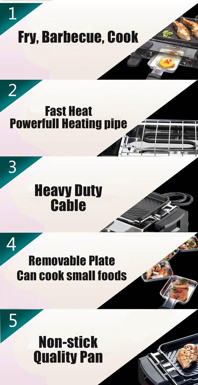 1000 w não-vara churrasqueira elétrica raclette grill