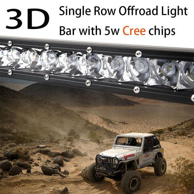 "100W 23"" 3D Super Slim Single Row Work Car Light Bar Offroad Driving Lamp Spot Combo Auto Parts SUV UTE 4WD ATV Boat Truck"