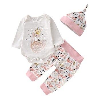 цена на Fashion Baby Girl Clothes Set Baby Bodysuits Long Sleeve+Long Pants+Hat Cotton Newborn Clothes Baby Set Infant Clothing D30
