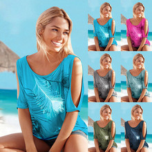 Casual Short Sleeve Tops Tees Sexy Off Shoulder O-neck Feather Print Blouse