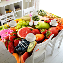 New 3D Tablecloth Orange Grape Apple Fruit Pattern  Waterproof Polyester Rectangular Wedding Dinner Table cloth Home Textiles недорого