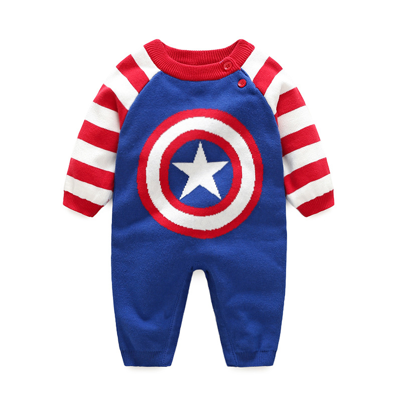 Cuikevin2017 Autumn Winter Cotton Baby Boys Clothes  Long-Sleeve Superman Newborn Baby Romper Knitted Jumpsuit Baby Clothing cotton baby rompers set newborn clothes baby clothing boys girls cartoon jumpsuits long sleeve overalls coveralls autumn winter