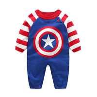 Cuikevin2017 Autumn Winter Cotton Baby Boys Clothes Long Sleeve Superman Newborn Baby Romper Knitted Jumpsuit Baby