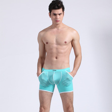 New AiBC Mens boxers underwear Low-waist U-bag boxer Ice silk transparent sexy s 6 colors S M L XL
