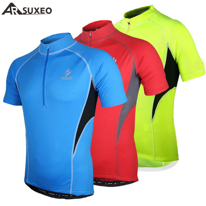 2017 ARSUXEO Sports Brand Running Cycling Jersey Bike Bicycle Short Sleeves MTB Clothing shirts wear Mountain Bike Jersey 665 triathlon fitness women sports wear shorts kit sets cycling jersey mountain bike clothing for spring jersey padded short page 9