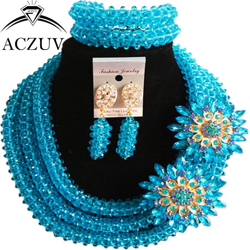 ACZUV Latest Lake Blue Crystal African Fashion Beads Necklace and Earrings Bracelet Nigerian Wedding Jewelry Sets B3R022 viennois new blue crystal fashion rhinestone pendant earrings ring bracelet and long necklace sets for women jewelry sets