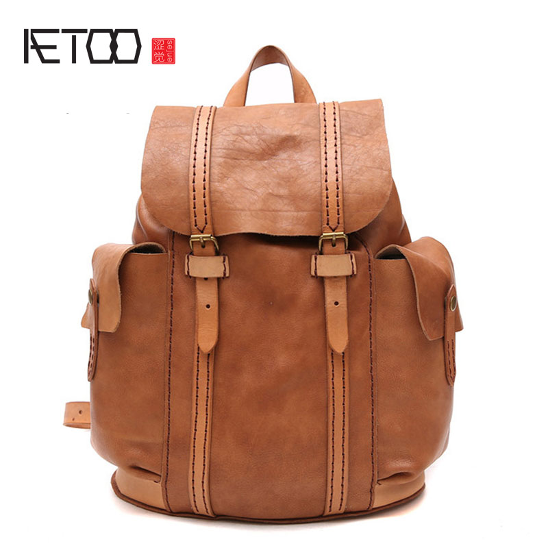 AETOO Original handmade retro shoulder bag men and women bag new backpack head layer cowhide unique personality English college bag 2016 new manual brush color restoring ancient ways head layer cowhide backpack aslant bag college small