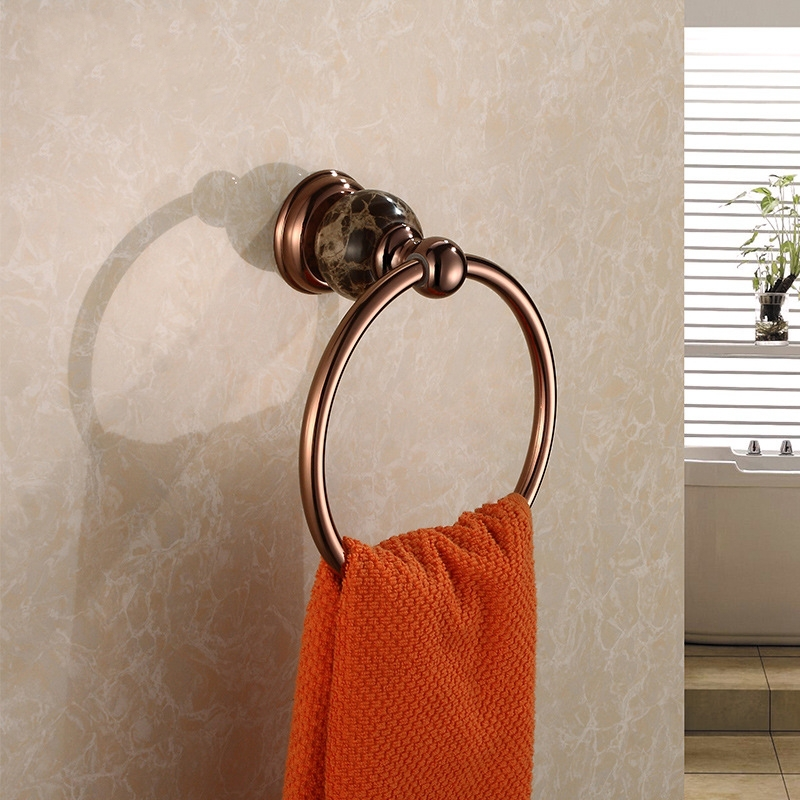 Solid Brass Copper & Marble Rose Gold Finished Bathroom Accessories Products  Towel Ring,Towel Holder,Towel Bar copper finished luxury gold towel holder brass towel ring bathroom accessories with crystal decoration