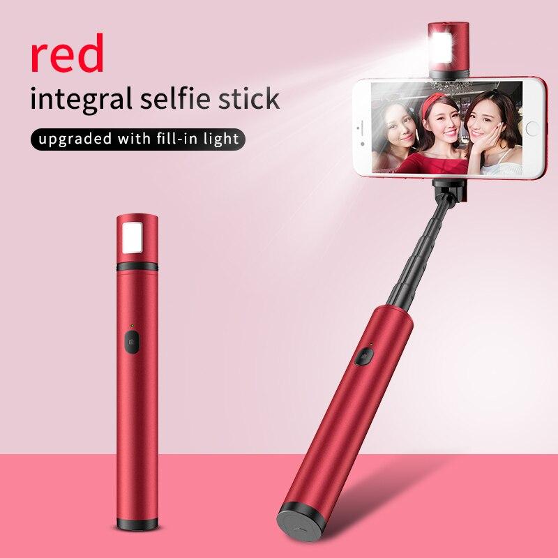 2019 nova vara selfie pau de auto tripé para telefone palo selfie expansível liga de alumínio luz preenchimento selfie dobrado comprimento 16mm