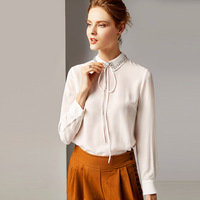 R10133 New Fashion 2019 Blouse Women's Spring Clothes Lapel Long Sleeve Solid Color Retro Silk Shirt