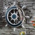 Средиземноморский стиль якорь Helmsman деревянная Лодка Корабль Руль рыболовная сеть домашняя стена морское украшение колесо дерево Ремесло Д...