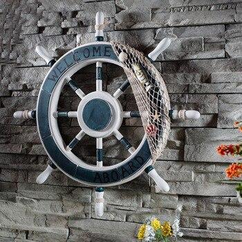 Средиземноморский стиль якорь Helmsman деревянная Лодка Корабль Руль рыболовная сеть домашняя стена морское украшение колесо дерево Ремесло Д... >> Sunchamo Marine Crafts Store