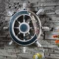 Stile mediterraneo Timoniere di Ancoraggio Barca di Legno Rete Da Pesca Rotella Della Decorazione Della Parete Della Casa di Trasporto Marittimo Timone della Nave di Legno Craft Decor