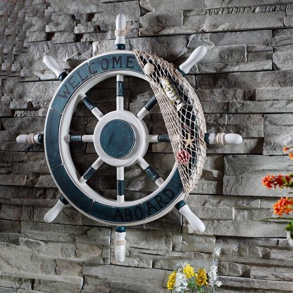 Style méditerranéen ancre timonier bateau en bois gouvernail de bateau filet de pêche maison mur nautique décoration roue bois artisanat décor