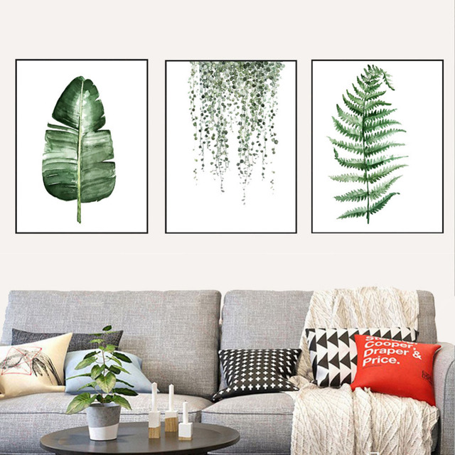 Posters Prints Wall Art Canvas Painting Green Plants Print Wall Pictures  For Living Room Bedroom Nordic