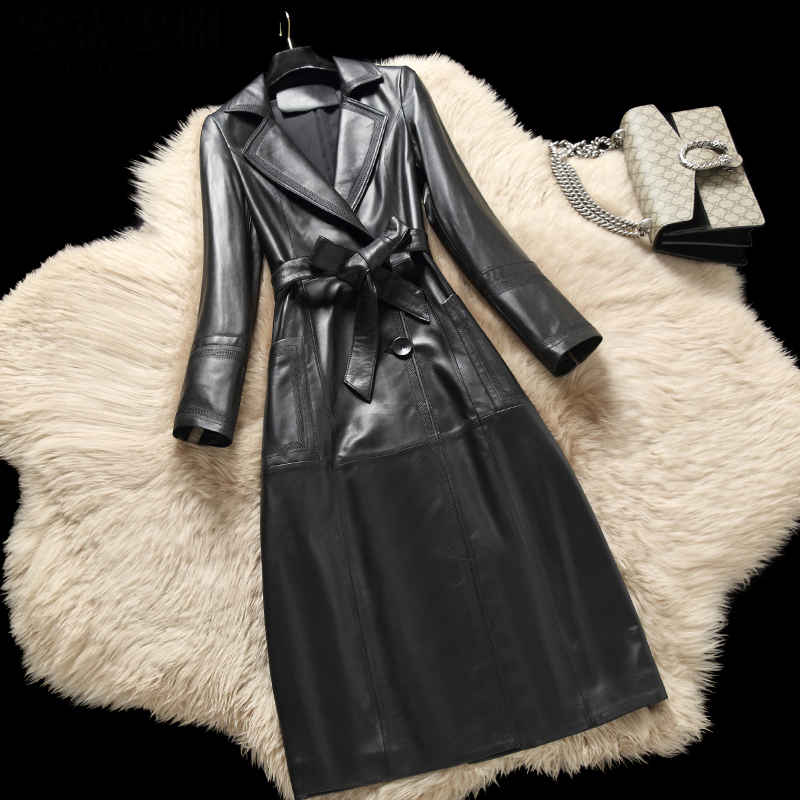 Long style natural sheepskin   leather   jacket women notched collar slim waist sashes motorcycle jackets woman real   leather   coat