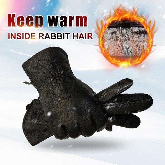 Зимние мужские перчатки из кожи оленя 2