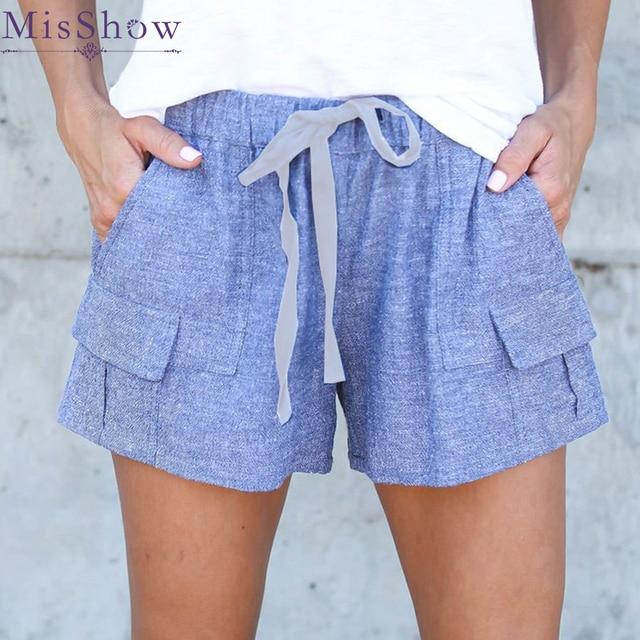 d56fb57c9 2019 Fashion Women Comfy Hot shorts Summer Blue Casual Shorts High Waist  Hot Drawstring Shorts Feminino shorts Exercise Trousers
