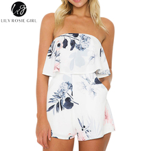 Lily Rosie Girl Women 2017 White Off Shoulder Ruffles Boho Summer Romper Sexy Print Floral Fashion