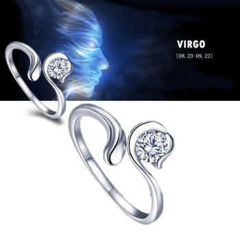 Zodiac Star Signs 12 Constellations Silver Plated Ring