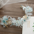 Elegant Light Blue Feather Tiara Lace Flower Hairband for Women Forest Princess Headband Handmade Dry Flowers Head Jewelry SG450
