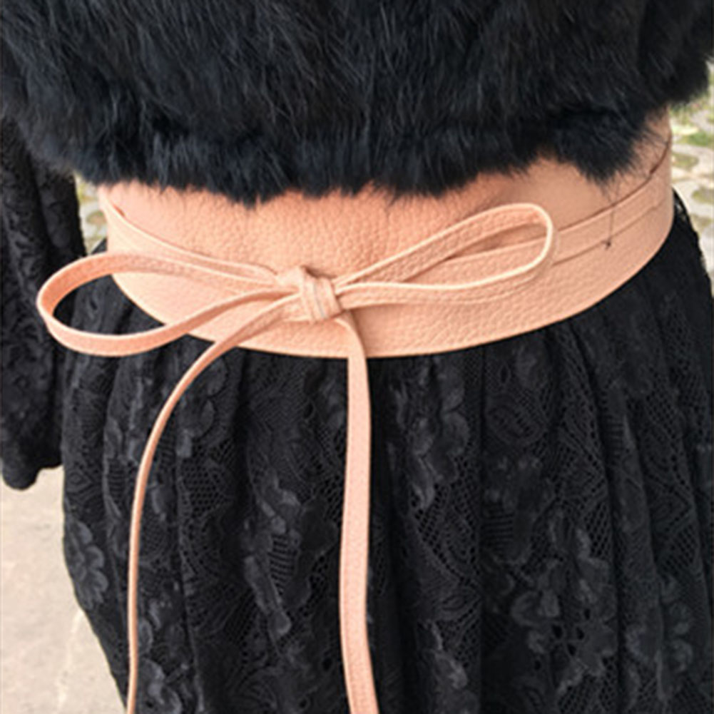 Women Lace Up Pu Leather Designer Wide Strap Belts Girls Fashion High Waist Slimming Girdle Belt Ties Bow Bands
