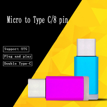 50pcs  Mini O-T-G Adapter Micro USB To 8 Pin/ Type-c For iph or for Huawei Sync Data Charging Converter Charger Cable