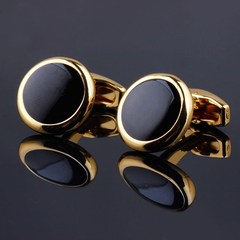 Luxury Fashion Black Round Plated Cufflinks Arm Buttons For Women Men Business Shirts Cuff Links Wedding Jewelry FPJXZ31(China)