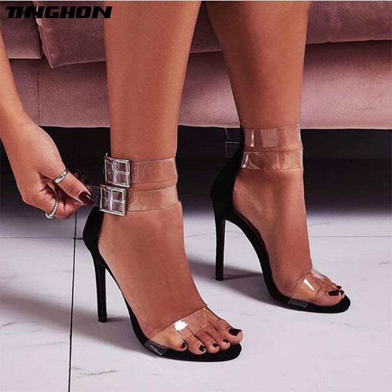 TINGHON New Fashion Crystal Rhinestone Buckle Strap Sandals Summer Sexy PVC  Thin High Heels Open Toe Gladiator Dress Lady Shoes 67a15ac3a17d