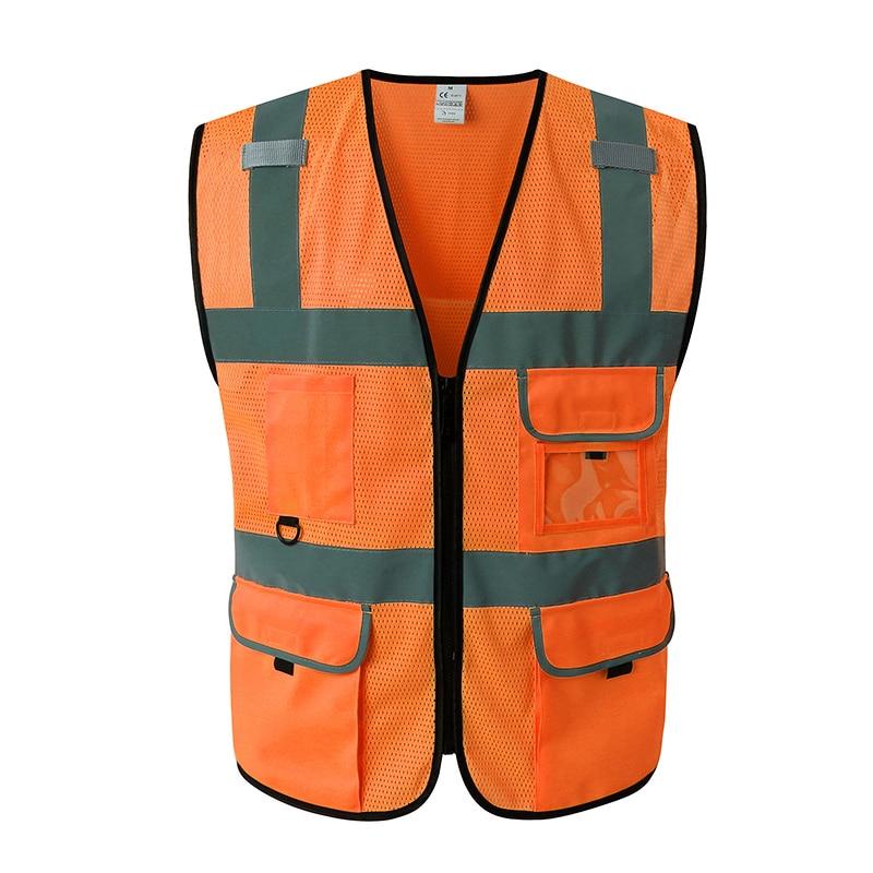 Hi visibility mesh safety waistcoat reflective